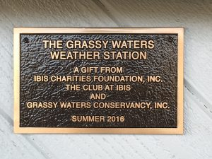 Grassy Waters Live Weather station plaque